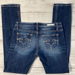 ReRock for Express Low Rise Skinny Jeans with distressed whiskering and fading
